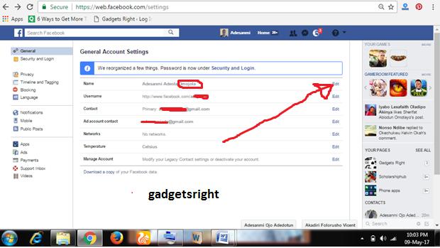 change Facebookname