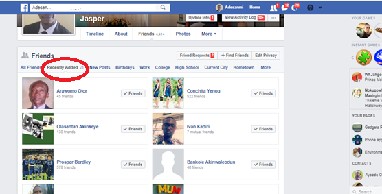 Recently Added Friends On Facebook