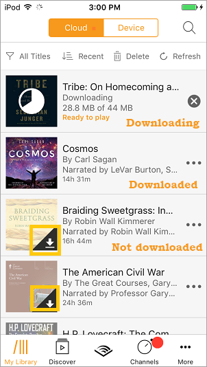 How can I download my audio books to my devices