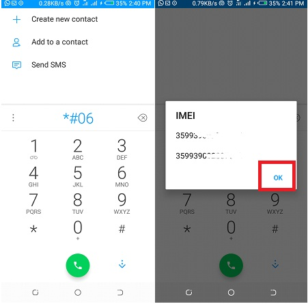 imei check on any phone dialer
