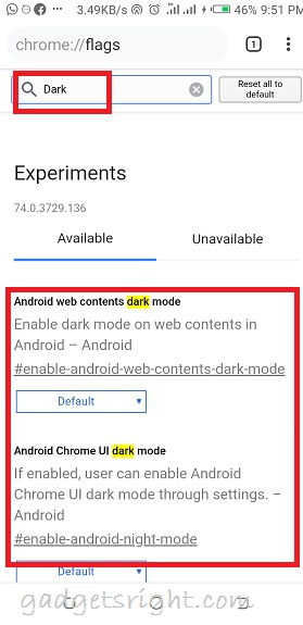 Enable Dark Mode for Chrome Android