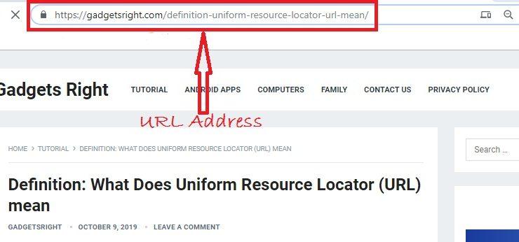 Uniform Resource Locator URL address