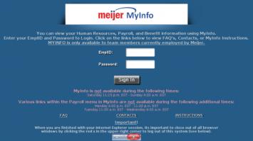 Meijer Myinfo   A portal for Meijer employees