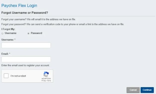 paychex flex login reset password