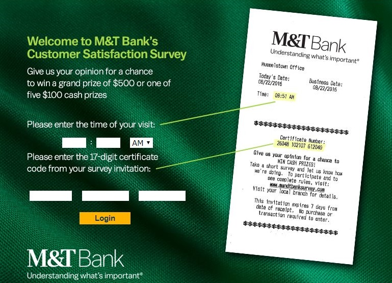 MandT Bank Survey to Win $500 Cash Prize @ MandTBankSurvey