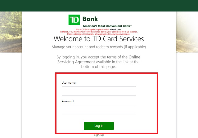 TDCardServices Login, Pay Bill & Cash Back @ tdcardservices.com