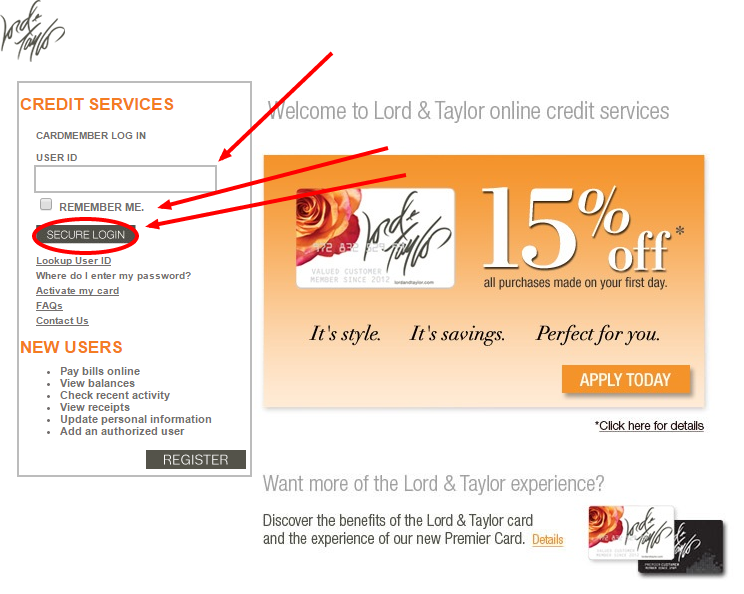 lord and taylor credit card account online