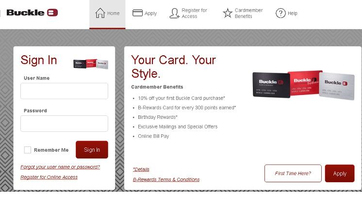 BuckleCreditCard, Application, Login & Payment Methods