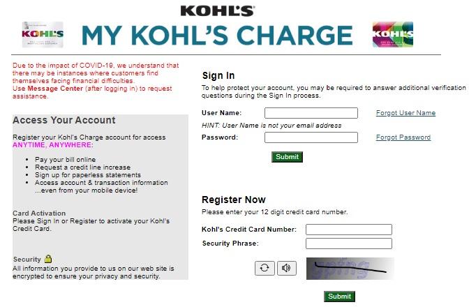 My Kohls Charge Card Login   Kohls Credit Card Login