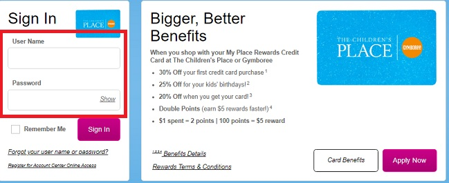 MyChildren's Place Credit Card Login and Payment Methods