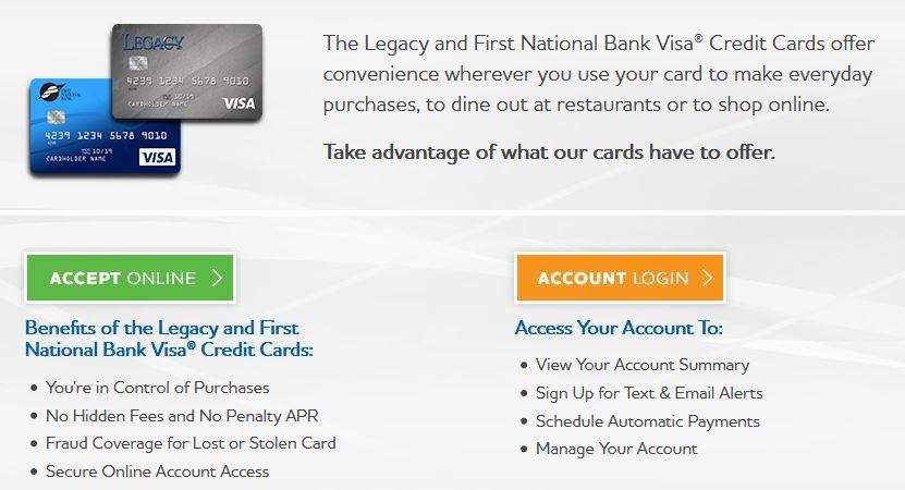 First National Legacy Credit Card login