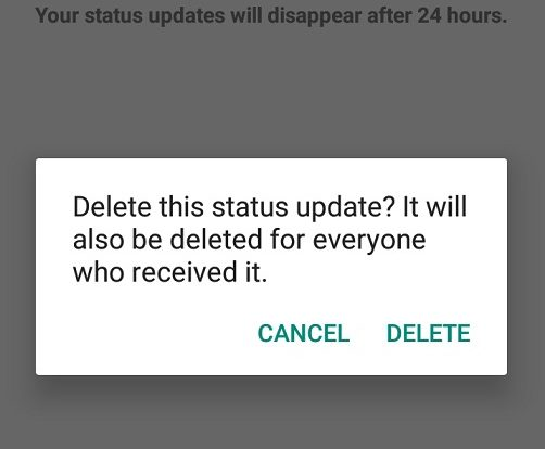 Delete WhatsApp Status on your Devices