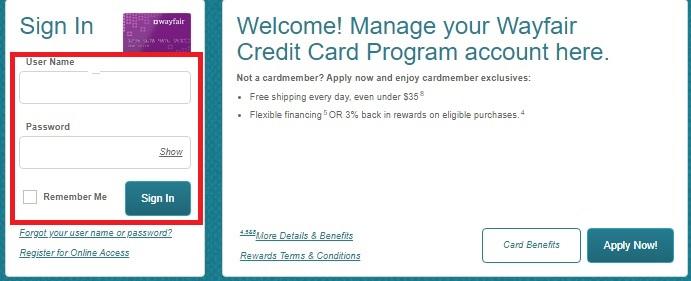 wayfair card login