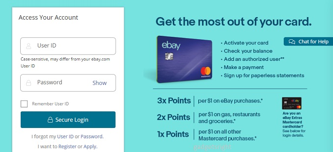 eBay  Card Application Process