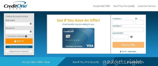 Credit One credit card Online
