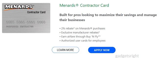 Menard Contractors Credit Card