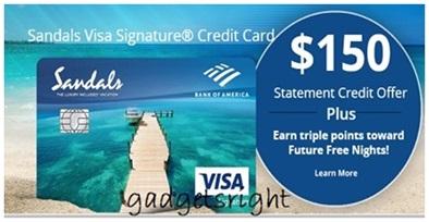 sandals credit card
